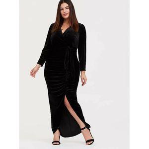 Torrid Dress 14 Black Velvet Front Slit Maxi V-Nec